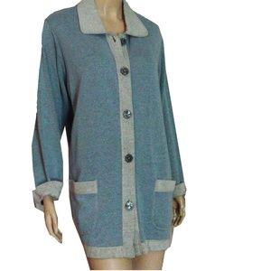 New DAVID DART Pale Blue & Gray Sweater Jacket 1X